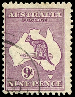 Lot 1005:9d Violet [3L60] White flaw NE of Tasmania.
