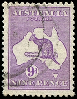 Lot 957:9d Violet BW #29(4)q [4R30] (not catalogued in CofA wmk) White flaw adjoining NW coast of Tasmania. Cat $100?