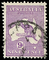 Lot 219:9d Violet - [4R11] Top of I of AUSTRALIA broken.