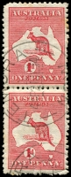 Lot 797:1d Red Die IIA [HL42] White flaw below LI of AUSTRALIA lower unit in pair top unit Notch in ball of 'd' in value circle, rough perfs