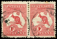 Lot 664:1d Red Die II BW #3(E)d [EL25] 'Extra Island' (Two Tasmanias) - late state left unit in horizontal pair, Cat $400+.