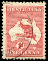 Lot 116:1d Red Die II [EL59] Damaged frame above ST of AUSTRALIA.