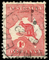 Lot 142:1d Red Die II [FL12] Vertical scratch through shading lines left of Albany, Lammeroo squared-circle of DE29/13.