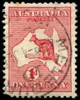 Lot 129:1d Red Die I - [CR20] Break in third shading line below Cape Arnhem in Gulf of Carpentaria - State I.