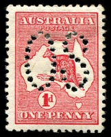 Lot 738:1d Red Die I BW #2ba Perf Large 'OS', Cat $30.