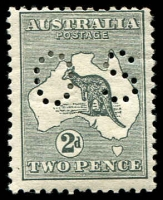 Lot 741:2d Grey - BW #5bc perf small 'OS', hinge rem, Cat $200