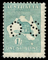 Lot 164:1/- Emerald BW #34b perf 'OS', Cat $100.