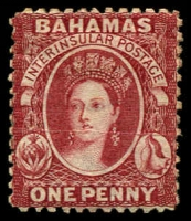 Lot 3123:1863-77 Interinsular Wmk Crown/CC SG #20 1d brown-lake P12½, MNG, Cat £100.