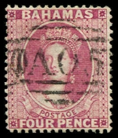 Lot 3679:1863-77 Interinsular Wmk Crown/CC SG #36 4d dull rose P14, Cat £40.