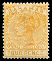 Lot 3681:1884-90 Wmk Crown/CA Perf 14 SG #53 4d deep yellow.