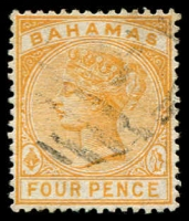 Lot 3126:1884-90 Wmk Crown/CA Perf 14 SG #53 4d deep yellow.