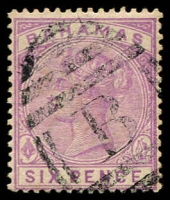 Lot 3682:1884-90 Wmk Crown/CA Perf 14 SG #54 6d mauve, slightly aged, Cat £35.