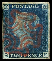 Lot 19577:1840 2d Blue [QF] SG #5 4 margins, one just touching, fresh colour and a fine red Maltese cross cancel, Cat £900. A lovely stamp