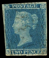 Lot 22972:1841 Line-Engraved SG #14 2d blue Plate 3 [SB] 4-margins (close top left), cut in bottom margin, Cat £90. An attractive space-filler