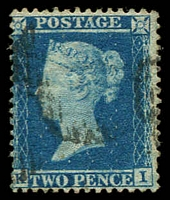 Lot 22974:1854-57 Line-Engraved SG #34 P14 2d blue (plate 5) wmk large crown [KI], Cat £70.