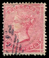 Lot 3562:1855-57 No Corner Letters SG #66 4d rose-carmine wmk large garter, Cat £140.