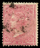 Lot 4124:1855-57 No Corner Letters SG #66a 4d rose wmk large garter, Cat £140.
