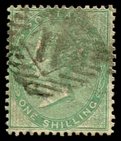 Lot 4125:1855-57 No Corner Letters SG #73wi 1/- pale green Wmk inverted, Cat £675.