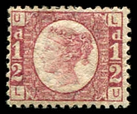 Lot 4121:1870 Wmk halfpenny SG #49 ½d rose, plate 12 [LU], some gum adhesions, Cat £120.