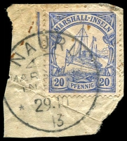 Lot 22902:1901 Yacht No Wmk Mi #16 20pf blue on piece with 'NAURU/MAR[HALL]/IN[SELN]