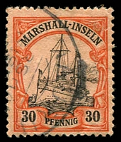 Lot 22904:1901 Yacht No Wmk Mi #18 30pf black & orange/buff with part Nauru cds