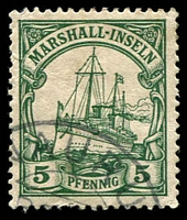 Lot 4394 [2 of 2]:1901 Yacht No Wmk Mi #14-5 5pf & 10pf (faults) both with part Nauru cds