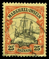 Lot 22903:1901 Yacht No Wmk Mi #17 25pf black & red/yellow with part Nauru cds