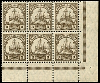 Lot 4396:1916-19 Yacht Wmk Lozenge Mi #26 3p corner block of 6, 1 unit hinged, some perf separation, Cat €11+