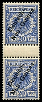 Lot 4154:1897-99 Overprint Mi #4 20pf ultramarine gutter pair, top unit hinged, Cat €41+ (10)