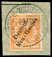 Lot 4155:1897-99 Overprint Mi #5 25pf on piece with fine 'FRIEDRICH-WILHEL[MSHA]