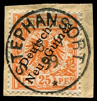Lot 4430:1897-99 Overprint Mi #5 25pf on piece with fine 'STEPHANSORT/15/11/99/*' cds, Cat €60 (6)