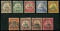 Lot 4156:1900-08 Yacht No Wmk Mi #7-15 3pf to 80pf, Cat €142, all, excl 30pf, with Herbertshohe cds. (9)