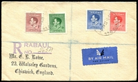Lot 3983:1937 Coronation SG #208-11 set on registered air cover Rabaul to England, 5d with Re-entry (cat £130 as used single stamp). Rare to find on cover.