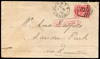 Lot 1090 [1 of 2]:1903 (Apr 1) cover from Windsor to Marsden Park. 1d Arms with BN '3' and framed 'WINDSOR/AP1/1903/N.S.W' alongside, red boxed unclaimed on face. Backstamps of framed 'RIVERSTONE/AP1/1903/N.S.W' (A2) and framed 'MARSDEN PARK/AP1.1903/N.S.W' (B1), plus red DLO cancel of MY6/1903.