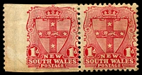 Lot 695:1899 Chalk-Surfaced Paper Wmk 2nd Crown/NSW Perf 12x11½ SG #299a 1d carmine horizontal pair, left unit imperf on 3 sides, a little aged, Cat £1,000 as vertical pair.