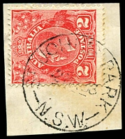 Lot 971:St. John's Park: - 'ST JOHN'S PARK/2MR33/N.S.W' on 2d red KGV on piece.  PO 20/6/1890; closed 30/6/1978.
