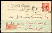 Lot 8000:1905 (Dec 28) use of coloured PPC of 'Cutting Sugar Cane, Bundaberg, Queensland' from Brisbane to Grand Hotel Melbourne where a readdressing label was applied and the PPC was forwarded to the Grand Hotel, Queenscliff. 1d stamp cancelled with with octagonal pillar box cancel.