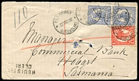 Lot 1324 [1 of 2]:1907 (Oct 22) registered cover from Clermont to Tatt's. 2-line 'REGISTE[RED]/CLERM[NT]