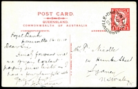 Lot 1321 [1 of 2]:1911 QV Sideface 3 Line Heading With Dividing Line HG #19a 1d red with 'VIEWS OF TOWNSVILLE, NORTH QUEENSLAND', cancelled with unframed 'HARRISVILLE/3 30/NO15/1910/QUEENSLAND' (A1). Fine condition. Rare.