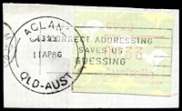 Lot 8413:Acland (2): - 'ACLAND/4352/11AP86/QLD-AUST' on 33c Frama. [Rated 3R - only one date recorded.]  Replaced Acland R.S. PO c.1969; closed c.1994.
