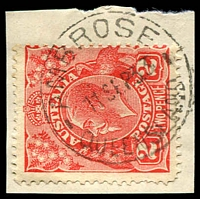 Lot 1482:Ambrose: - 26mm 'AMBROSE/11SEP33/QUEENSLAND' on 2d red KGV on piece.  RO 25/10/1910; PO 1/11/1915; closed 28/2/1977.