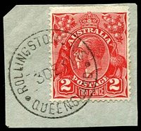 Lot 1569:Rollingstone: - 'ROLLINGSTONE R.S/3DE31/QUEENSLAND' on 2d red KGV on piece.  PO 5/19/1916.