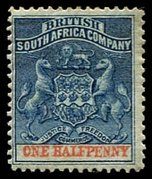 Lot 27049:1892-94 Bi-Colour Arms Perf 14,14½ SG #19 ½d deep blue & vermilion.
