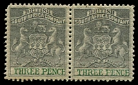 Lot 26774:1892-94 Bi-Colour Arms Perf 14,14½ SG #21 3d grey-black & green pair, rounded corner, Cat £50.