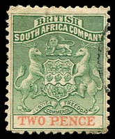 Lot 4262:1895 Bi-Colour Arms Thick Paper SG #27 2d green & red, Cat £19