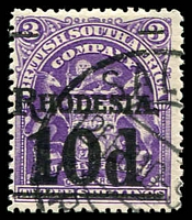 Lot 4101 [1 of 3]:1909-11 Surcharges SG #114c,117 5d on 6d dull purple and 10d on 3/- deep violet, both surcharged in black, Cat £40. (2)