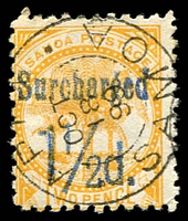 Lot 4595:1895-1900 Surcharges SG #78 1½d on 2d orange-yellow, P11, 1899 Apia cancel