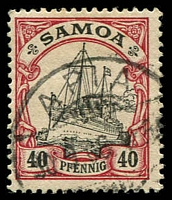 Lot 4294:1900-01 Yachts No WMK Mi #13 40pf, Cat €14, cancelled at Apia.