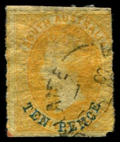 Lot 1604:1860-69 Second Roulettes SG #36 10d on 9d yellow with blue overprint, Cat £30.