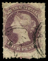 Lot 1605:1867-70 Perf 11½-12½xRoulettes SG #55 4d dull purple, Cat £130.